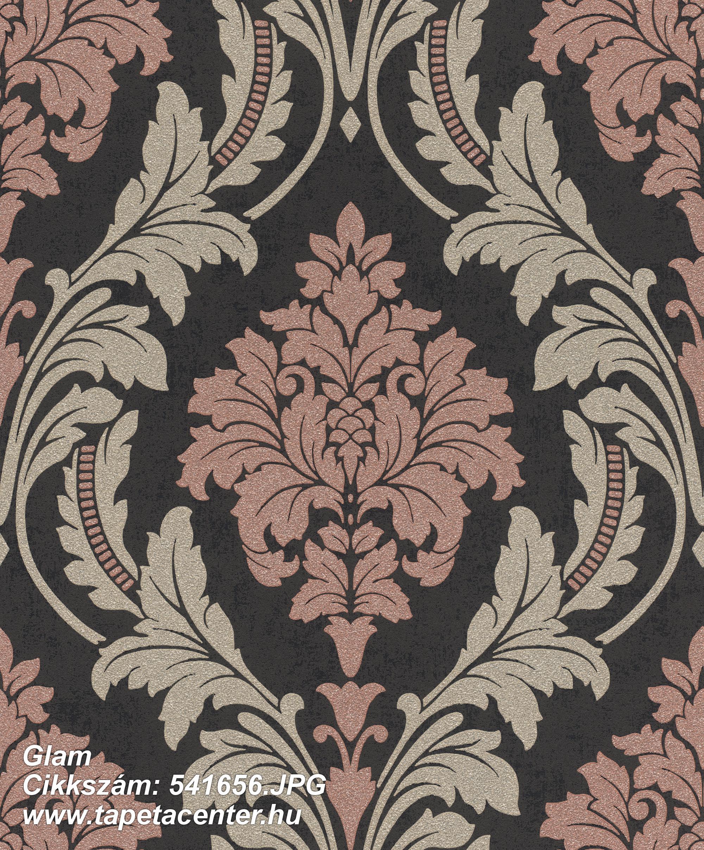 Barokk-klasszikus,csillámos,arany,fekete,pink-rózsaszín,lemosható,vlies tapéta