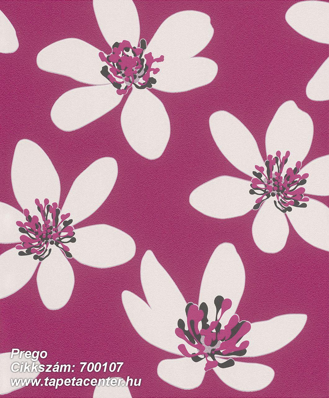 Gyerek,különleges felületű,retro,virágmintás,fehér,fekete,pink-rózsaszín,szürke,lemosható,vlies tapéta