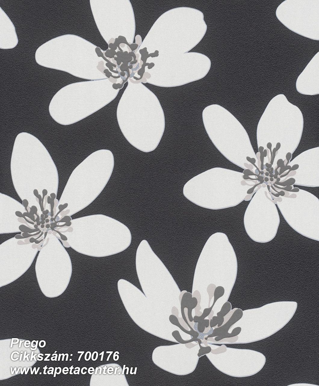 Különleges felületű,retro,virágmintás,bézs-drapp,fehér,fekete,szürke,lemosható,vlies tapéta