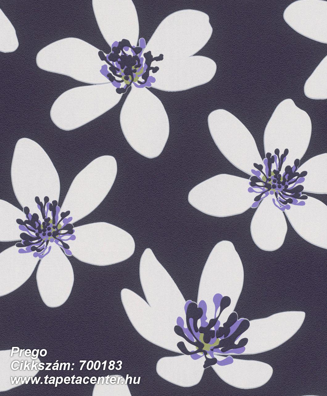 Különleges felületű,retro,virágmintás,fehér,lila,zöld,lemosható,vlies tapéta