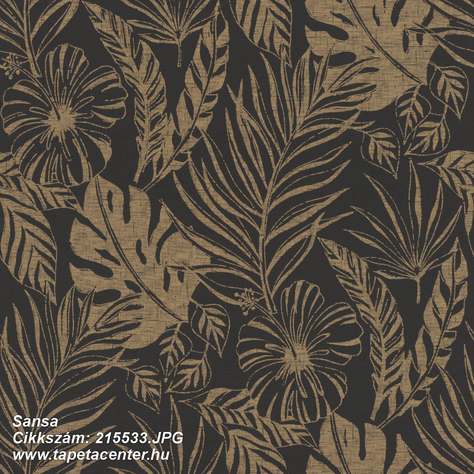Természeti mintás,virágmintás,arany,fekete,gyengén mosható,papír tapéta
