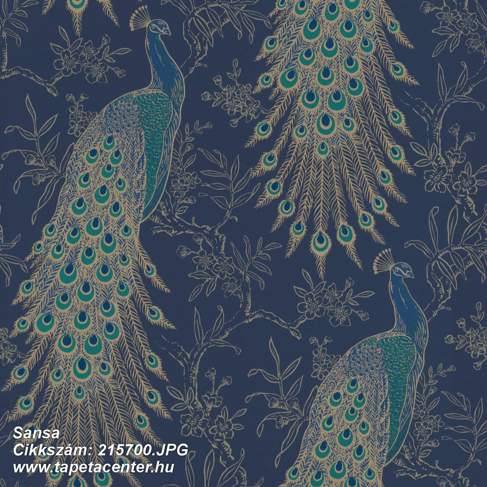 állatok,természeti mintás,arany,kék,türkiz,gyengén mosható,papír tapéta