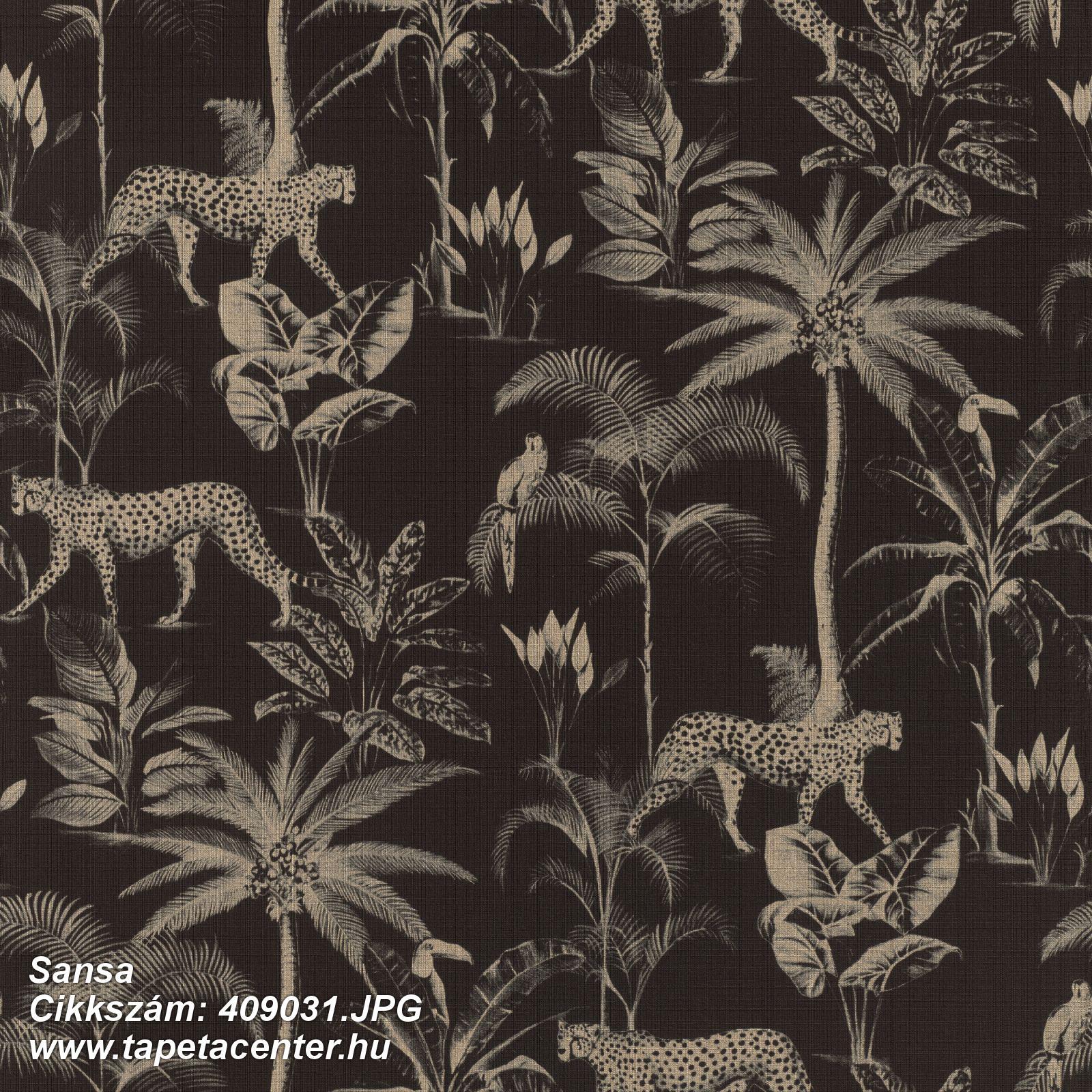 állatok,természeti mintás,arany,fekete,lemosható,vlies tapéta