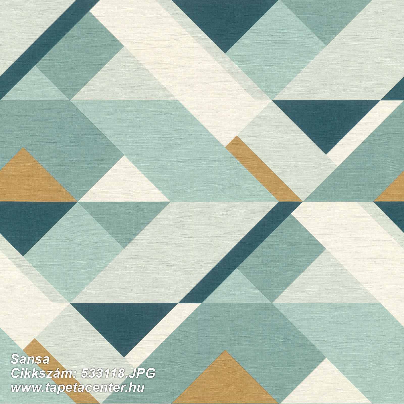 Absztrakt,geometriai mintás,arany,fehér,kék,türkiz,lemosható,vlies tapéta