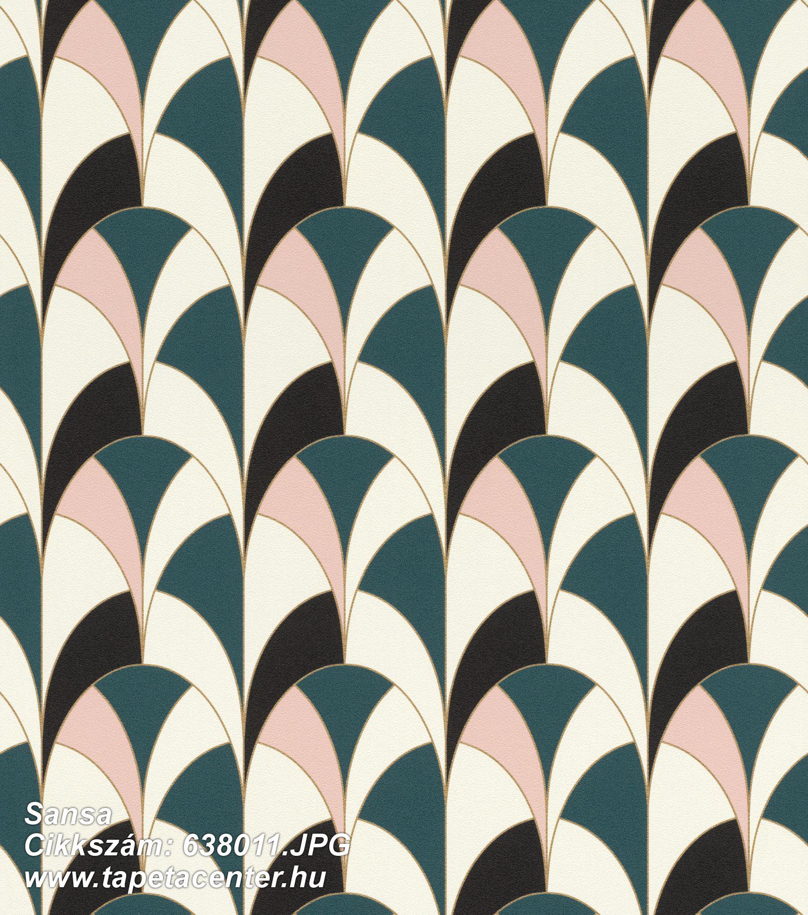 Absztrakt,geometriai mintás,fehér,fekete,pink-rózsaszín,türkiz,lemosható,vlies tapéta