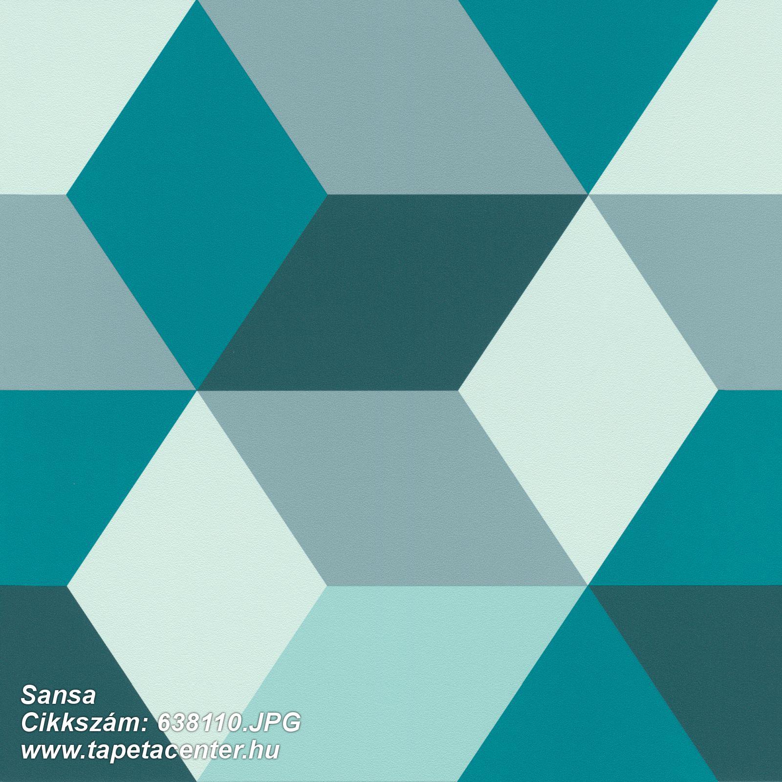 3d hatású,geometriai mintás,kék,türkiz,zöld,lemosható,vlies tapéta