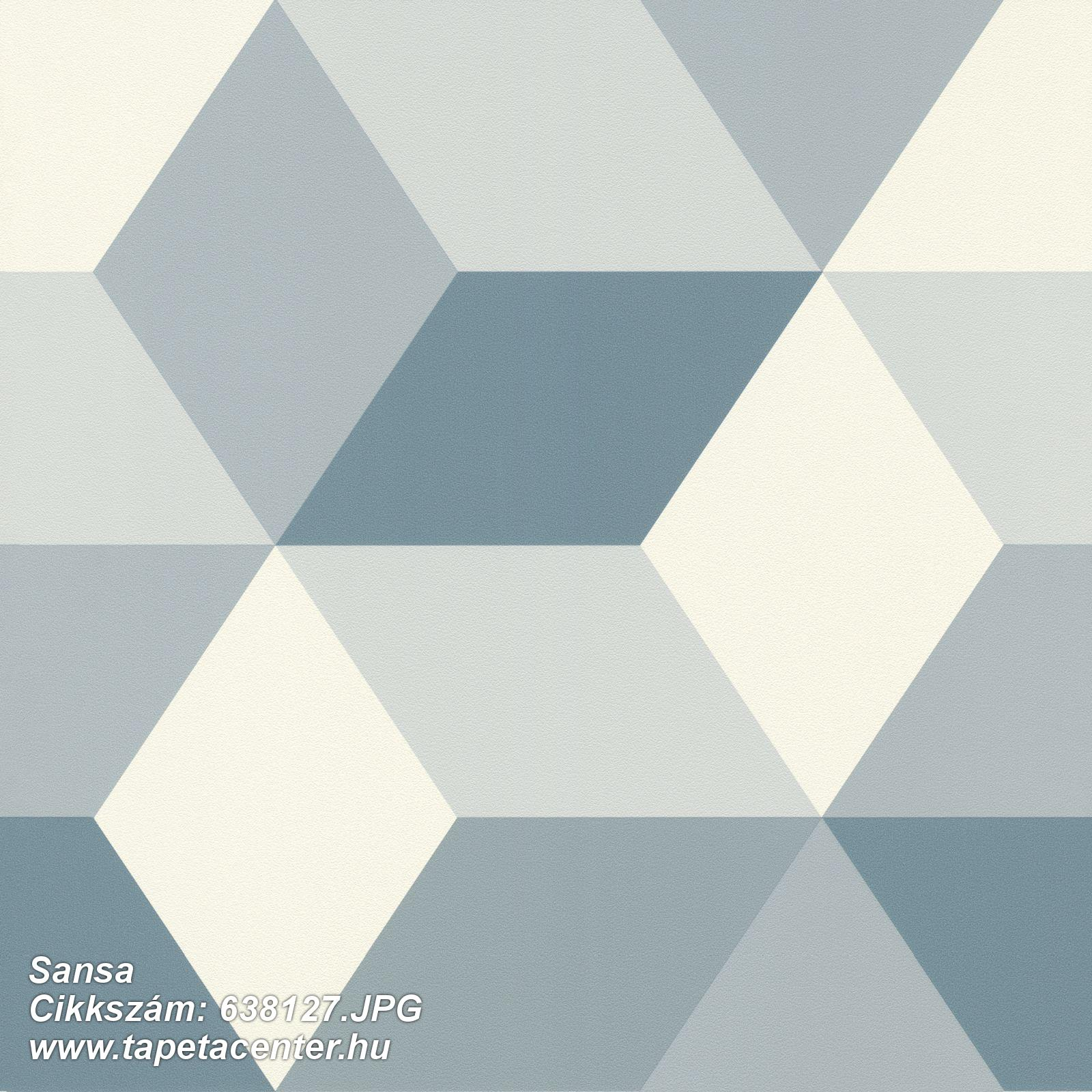 3d hatású,geometriai mintás,fehér,kék,lemosható,vlies tapéta