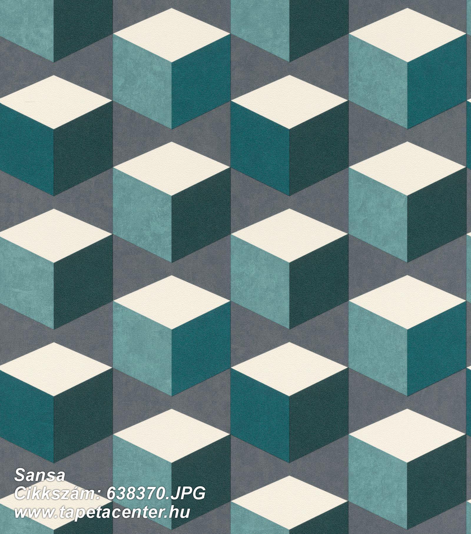 3d hatású,geometriai mintás,fehér,szürke,türkiz,zöld,lemosható,vlies tapéta