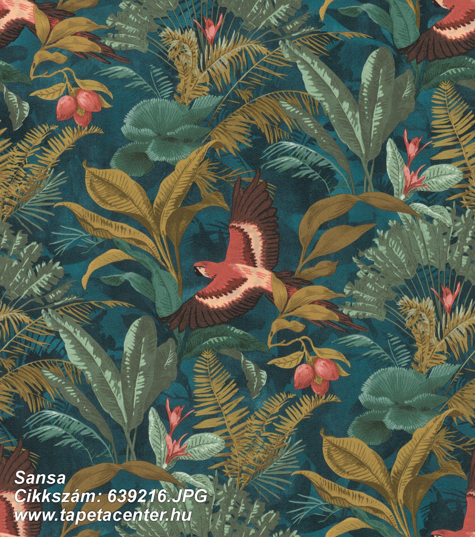 állatok,természeti mintás,arany,piros-bordó,türkiz,lemosható,vlies tapéta
