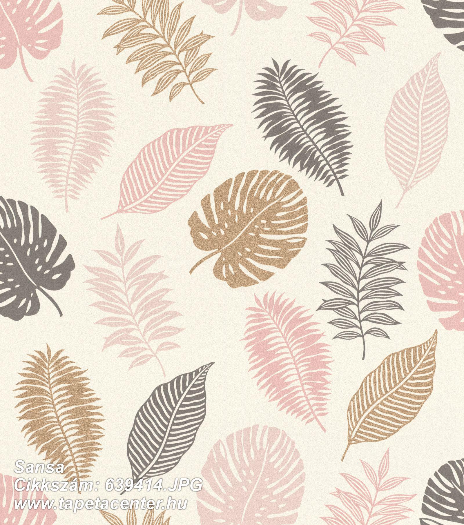 Természeti mintás,arany,fehér,pink-rózsaszín,lemosható,vlies tapéta