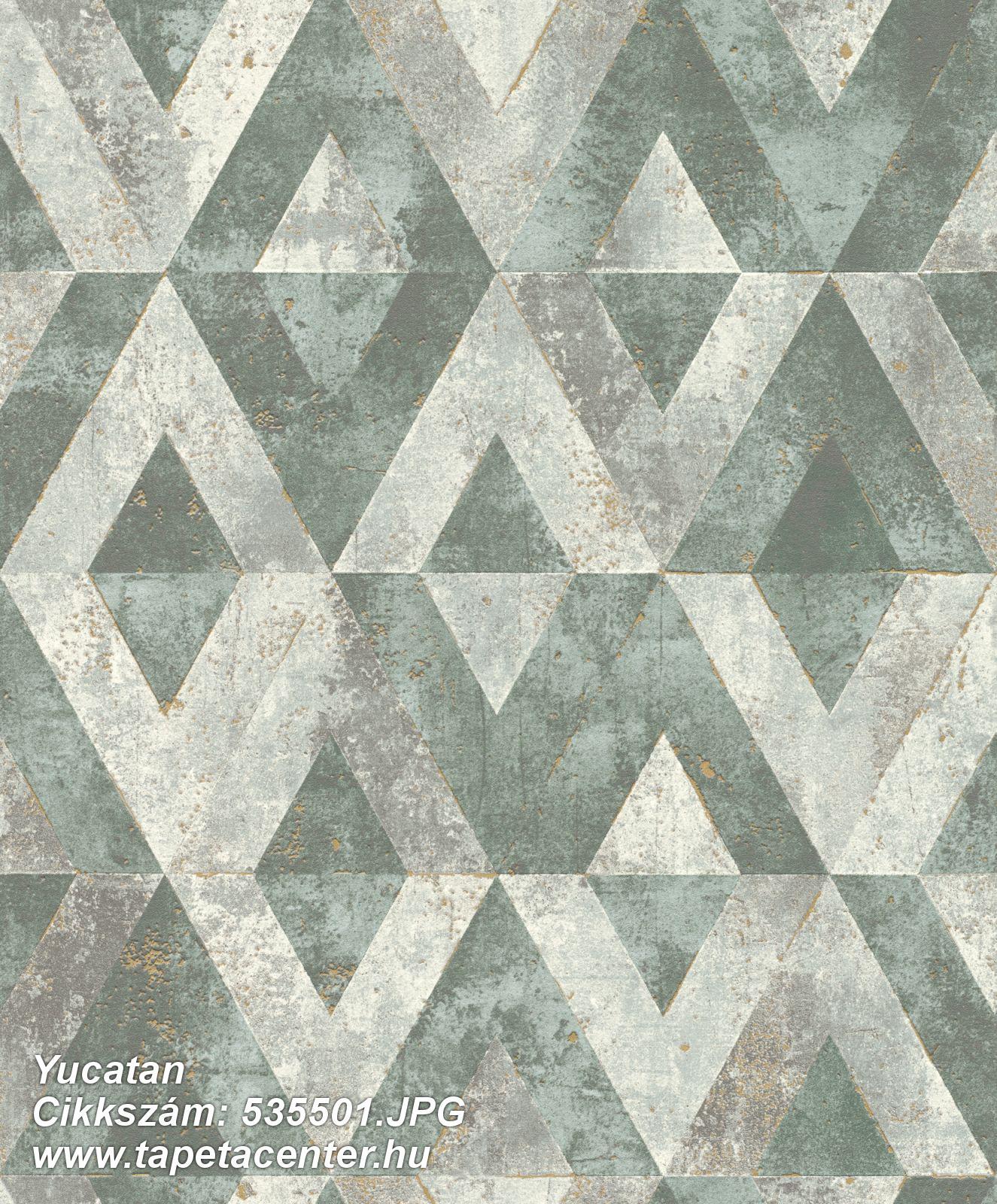 Absztrakt,geometriai mintás,szürke,zöld,lemosható,vlies tapéta