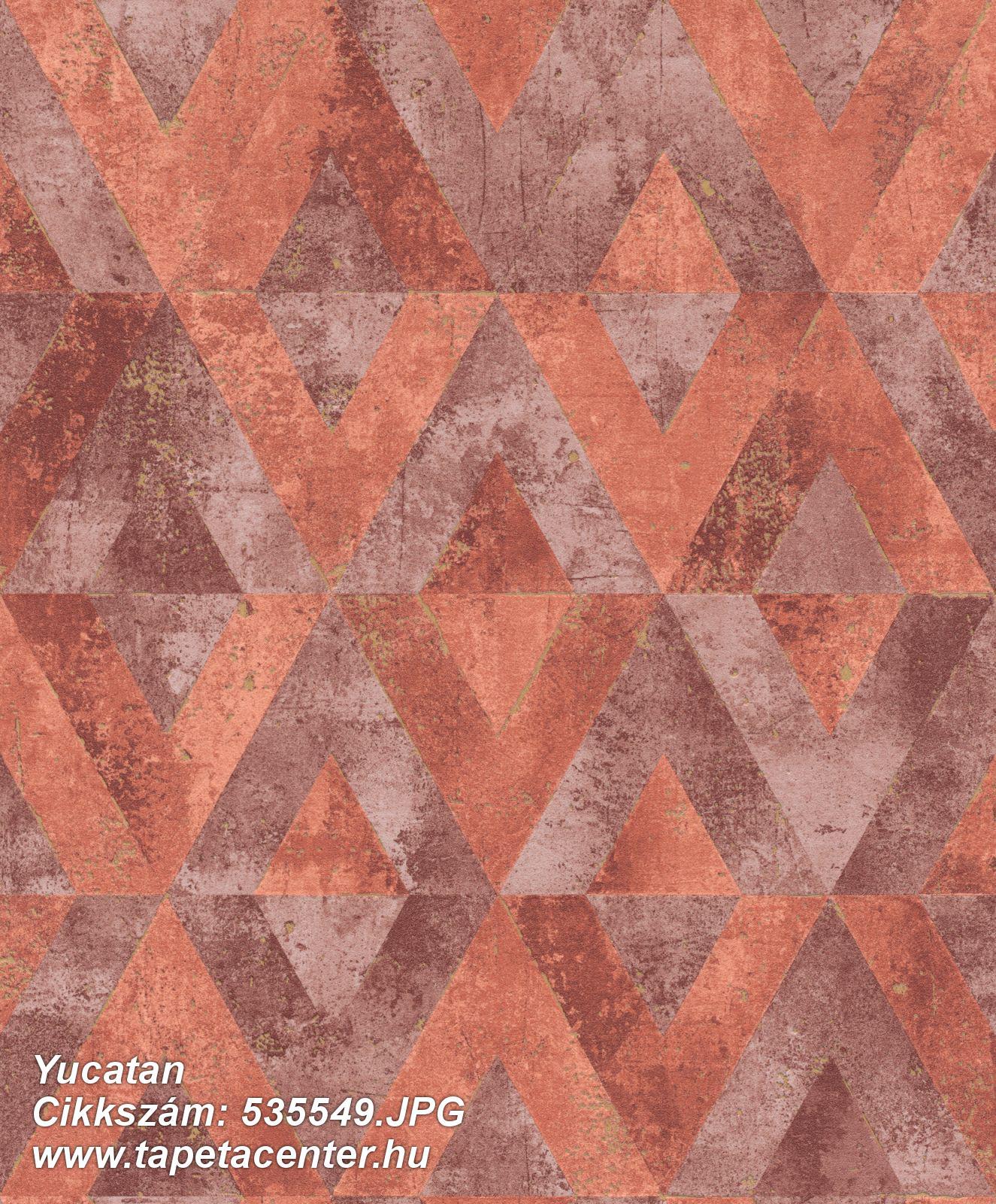 Absztrakt,geometriai mintás,narancs-terrakotta,szürke,lemosható,vlies tapéta