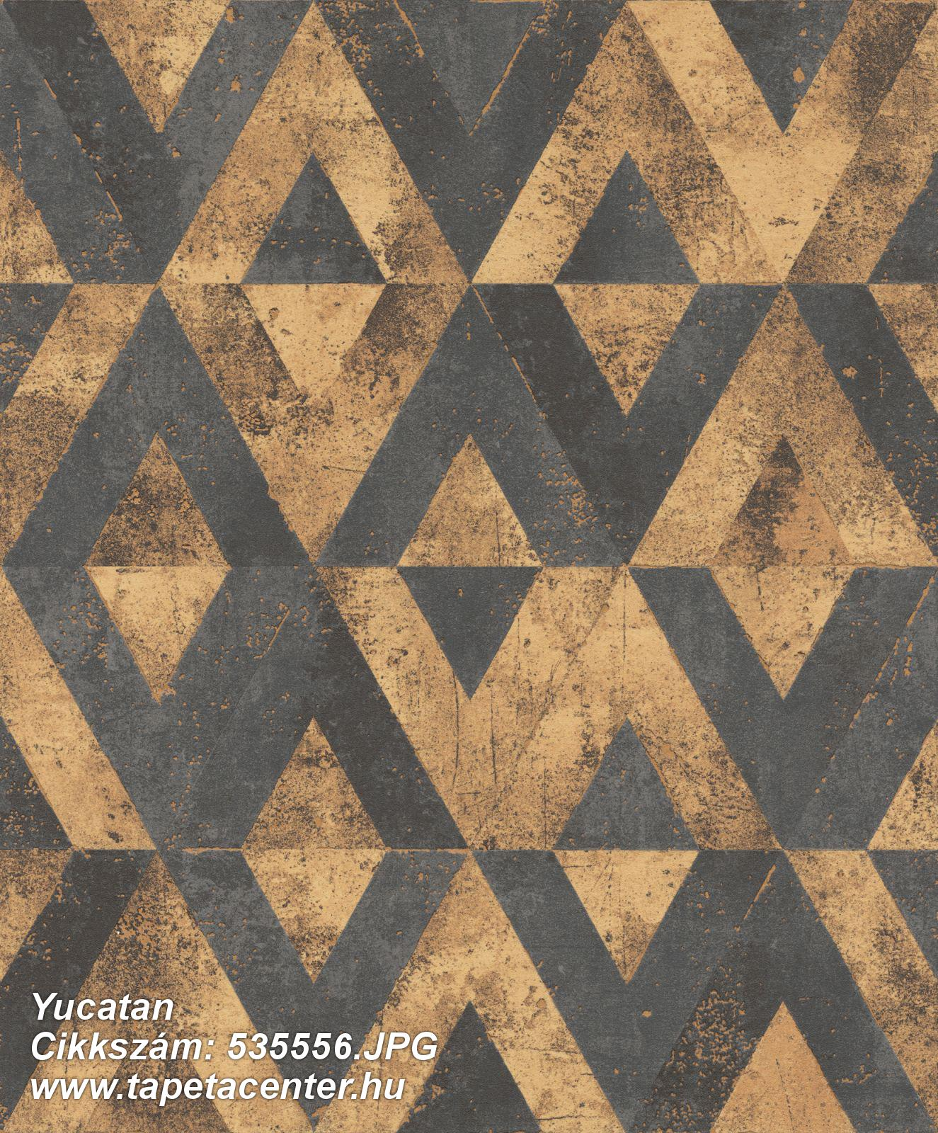 Absztrakt,geometriai mintás,arany,fekete,lemosható,vlies tapéta